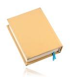 Geel boek met blauwe referentie Stock Afbeeldingen