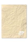 Geel brievendocument op witte achtergrond Stock Fotografie