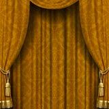Geel-bruin gordijn Stock Afbeelding
