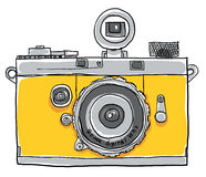 Geel camera uitstekend het schilderen lijnart. Stock Afbeelding