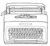 Geel de lijnart. van de Schrijfmachine Uitstekend Draagbaar Handschrijfmachine Royalty-vrije Stock Afbeeldingen