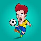 Geel de voetbalbeeldverhaal van het overhemdsspel Stock Afbeeldingen
