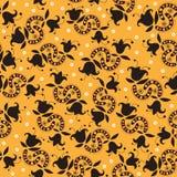 Geel decoratief patroon met donkere bloemen Stock Fotografie