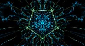 Geel en blauw fractal pentagoon op zwarte achtergrond stock illustratie