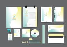 Geel en blauw met malplaatje van de kromme het grafische collectieve identiteit Stock Afbeelding