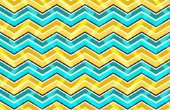 Geel en blauw zigzag naadloos patroon vector illustratie