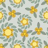 Geel en groen bloempatroon Stock Afbeeldingen