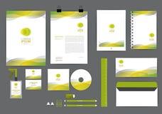 Geel en groen met malplaatje van de kromme het grafische collectieve identiteit Stock Fotografie