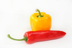 Geel en rode paprika Royalty-vrije Stock Afbeeldingen