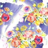 Geel en rood bloemen botanisch bloemenboeket Waterverf achtergrondillustratiereeks Naadloos patroon als achtergrond royalty-vrije stock afbeeldingen
