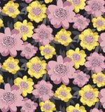 Geel en rooskleurig gestileerd bloemen naadloos patroon Royalty-vrije Stock Foto's