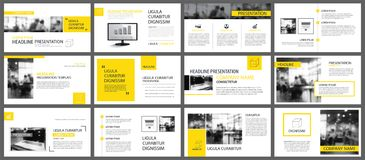 Geel en wit element voor dia infographic op achtergrond PR royalty-vrije illustratie