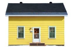 Geel geïsoleerdo huis - Stock Fotografie