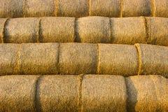 Geel goud gedrukt stro in balen, achtergrond stock foto's