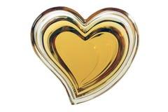 Geel hart dat op witte achtergrond wordt geïsoleerd Stock Afbeeldingen