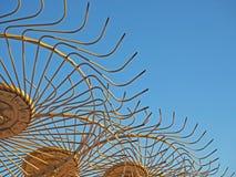 Geel Hay Rakes Detail Stock Fotografie