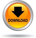 Geel het Webpictogram van de downloadknoop vector illustratie