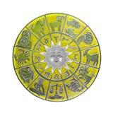 Geel horoscoopwiel Stock Afbeeldingen