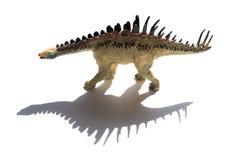 Geel huayangosaurusstuk speelgoed met shaodw op witte achtergrond stock foto