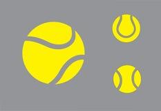 Geel kleurrijk het symboolpictogram van Tennisballen Stock Foto