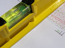 Geel laserwaterpas Royalty-vrije Stock Foto's
