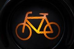 Geel licht voor fiets Royalty-vrije Stock Afbeeldingen