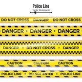 Geel met Zwarte Politielijn Kruis niet, Gevaar, Voorzichtigheid De Quarantainebanden van de gevaarsveiligheid Geïsoleerd op wit vector illustratie