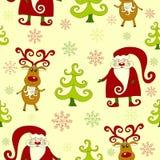 Geel naadloos Kerstmispatroon 3. Stock Afbeelding