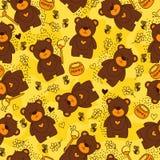 Geel naadloos patroon met leuke beren, bij, bloemen en honing stock illustratie