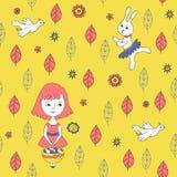 Geel naadloos patroon met meisje, kip en konijn vector illustratie