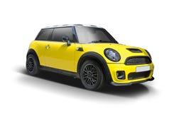 Geel nieuw die Mini Cooper op wit wordt geïsoleerd royalty-vrije stock foto