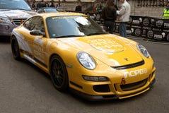 Geel Porsche 911 GT3 de Verzameling Londen 2010 van Gumball Royalty-vrije Stock Foto's