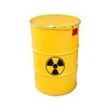 Geel radioactief die vat op wit wordt geïsoleerd Stock Fotografie