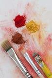 Geel, rood en bruin kunstpigment Royalty-vrije Stock Foto