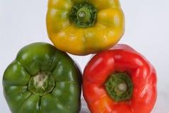 Geel, rood en groene paprika's Stock Foto