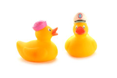 Geel rubber duckies Royalty-vrije Stock Foto's
