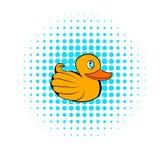 Geel rubbereendpictogram, strippaginastijl stock illustratie