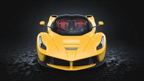Geel Supercar - Front Studio View Royalty-vrije Stock Afbeelding