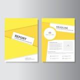 Geel van de het pamfletpresentatie van de brochurevlieger de malplaatjes vlak die ontwerp voor marketing wordt geplaatst Royalty-vrije Stock Foto's