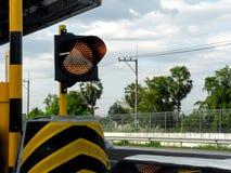 Geel verkeerslicht Stock Foto's