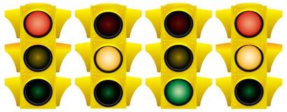 Geel verkeerslicht. Stock Afbeelding