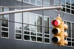 Geel Verkeerslicht met het rode sigh opvlammen Stock Afbeelding