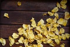 Geel verwelkte toenam bloemblaadjes Royalty-vrije Stock Foto's