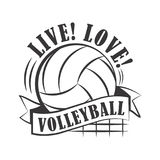 Geel volleyballembleem Stock Afbeelding