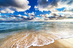 Geel zandig strand Stock Afbeelding