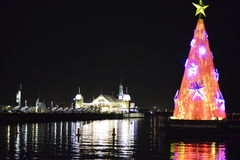 Christmas tree floating in Port Phillip bay stock images