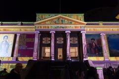 Geelong galeria reklamuje Archibald Nagrodzoną wystawę podczas Białej nocy Geelong zdjęcie royalty free