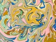 Geeloranje marmerachtergrond Heldere digitale marmeringsachtergrond Royalty-vrije Stock Afbeeldingen