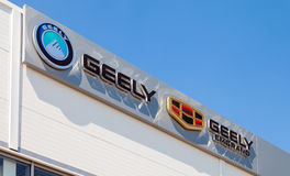 Geely automobile dealership sign Stock Images