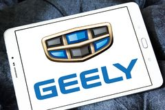 Geely automotive manufacturing company logo. Logo of Geely company on samsung tablet. Geely is a Chinese multinational automotive manufacturing company, that Royalty Free Stock Image